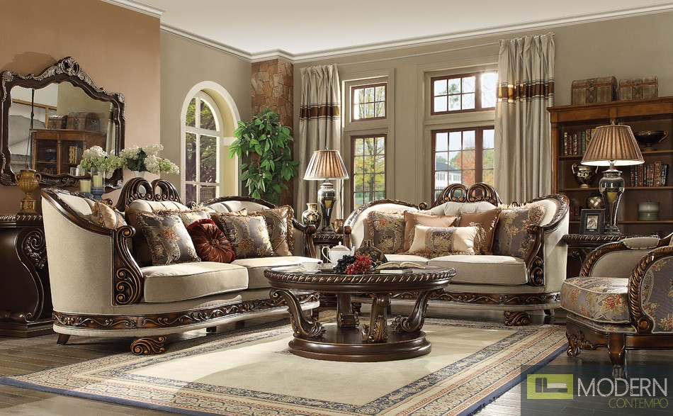Luxury Victorian Sofa, Love Seat & Chair 3 Piece Traditional Living Room Set MCHD-1623