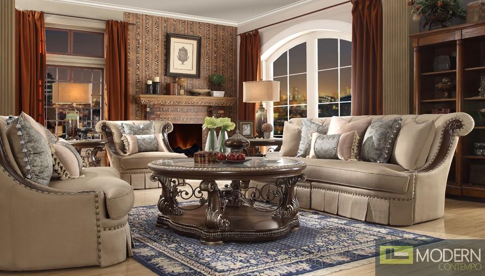 Luxury Victorian Sofa, Love Seat & Chair 3 Piece Traditional Living Room Set MCHD-1625