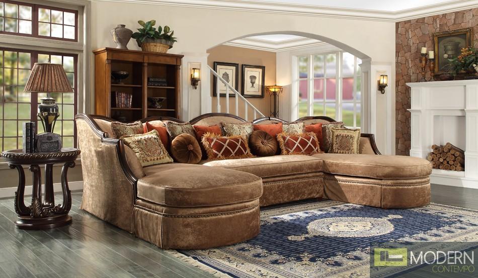 Luxury Victorian Sofa, Love Seat & Chair 3 Piece Traditional Living Room Set MCHD-1626