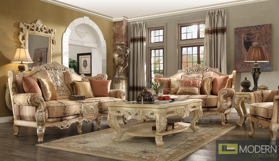 Luxury Victorian Sofa, Loveseat, and Chair 3 Piece Traditional Living Room Set MCHD-1633