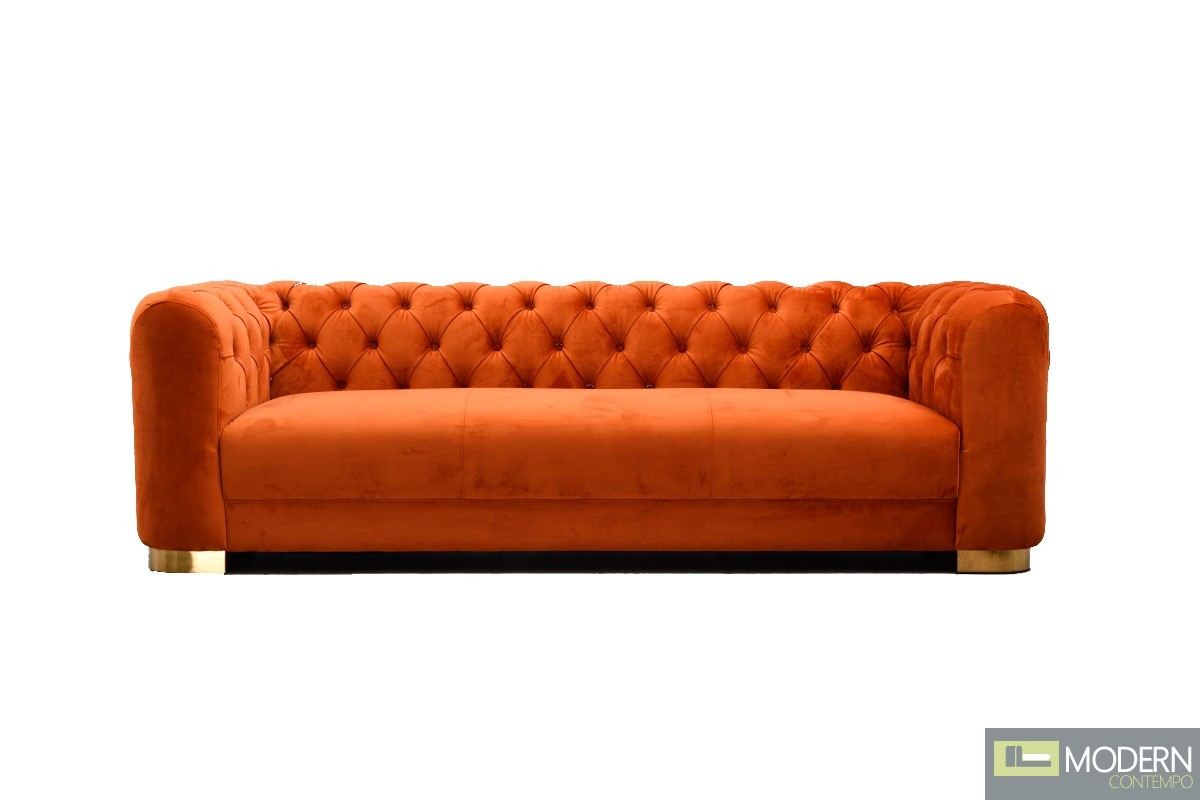 Arancia Chestefield Modern Tufted Orange Velvet Sofa
