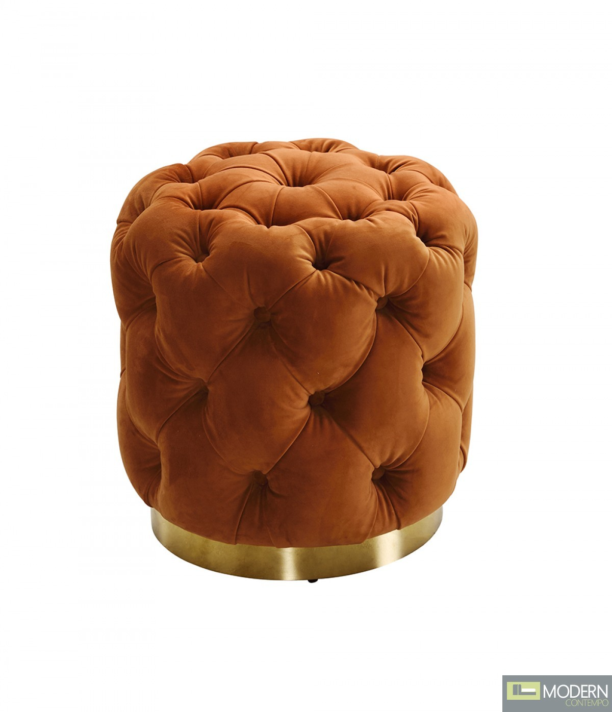 Arancia Chestefield Modern Tufted Orange Velvet ottoman