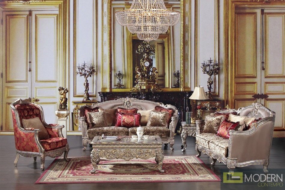 Luxury Victorian Sofa, Loveseat, and Chair 3 Piece Traditional Living Room Set MCHD-1880