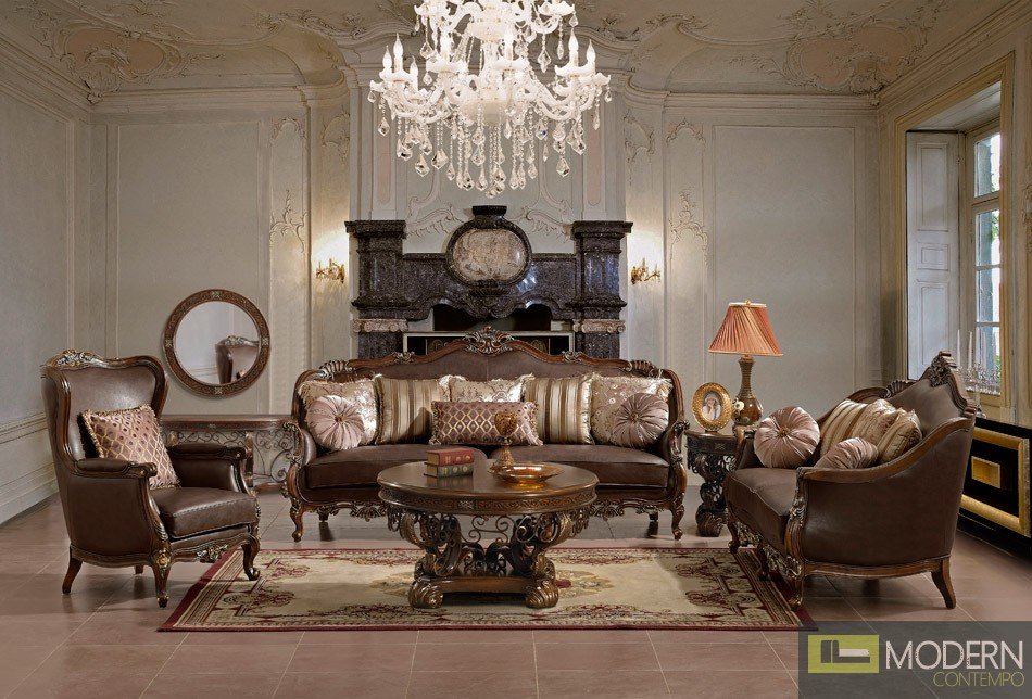 ... Traditional European Design Formal Living Room Sofa Set W/ Carved Wood  Accents