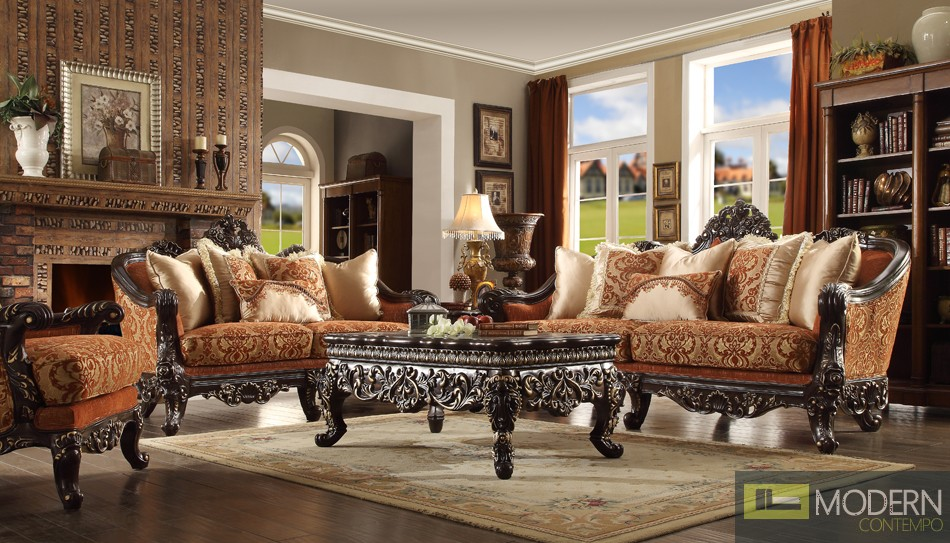 Luxury Victorian Sofa, Loveseat, and Chair 3 Piece Traditional Living Room Set MCHD-2627