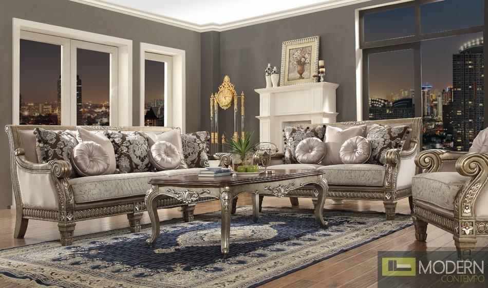 Luxury Victorian Sofa, Love Seat & Chair 3 Piece Traditional Living Room Set MCHD-303