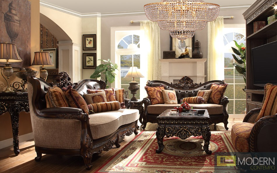 Luxury Victorian Sofa, Loveseat, and Chair 3 Piece Traditional Living Room Set MCHD-3630