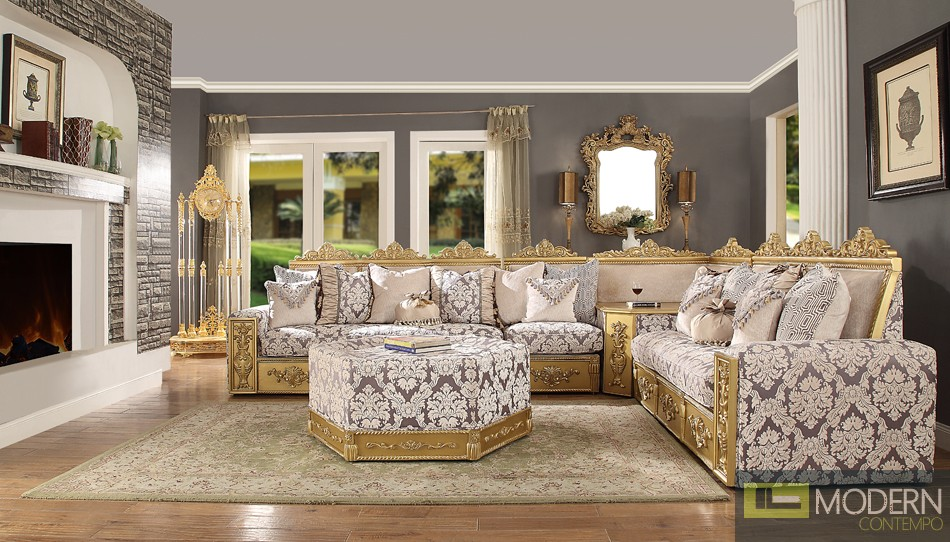 Luxury Victorian Sofa Sectional  Traditional Living Room Set MCHD-459
