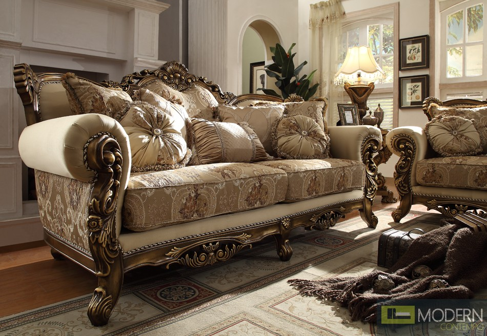 Verita Upholstery Living Room Set Victorian European