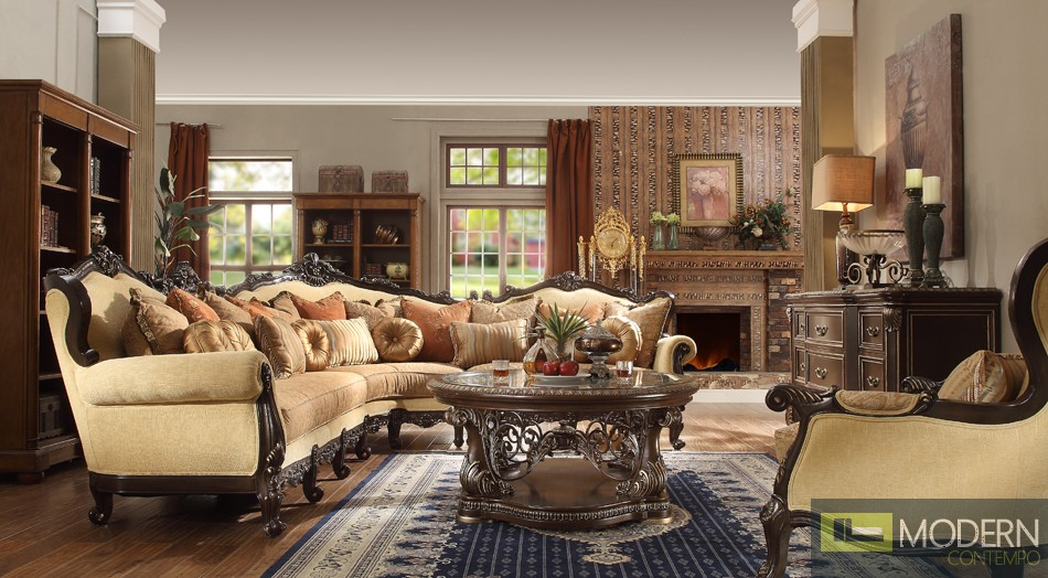 Luxury Victorian 3 Piece Traditional Living Room Sectional MCHD-5927