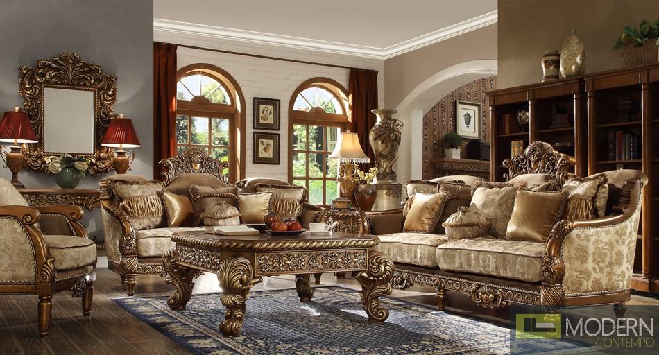 Luxury Victorian Sofa, Love Seat & Chair 3 Piece Traditional Living Room Set MCHD-610