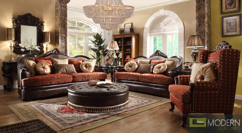 Luxury Victorian 3 Piece Traditional Living Room Sectional MCHD-6903