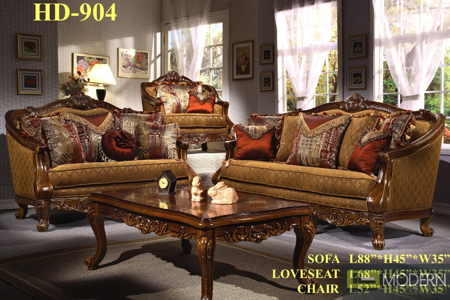 Victorian Traditional Sofa Set Formal Living Room Furniture HD-904