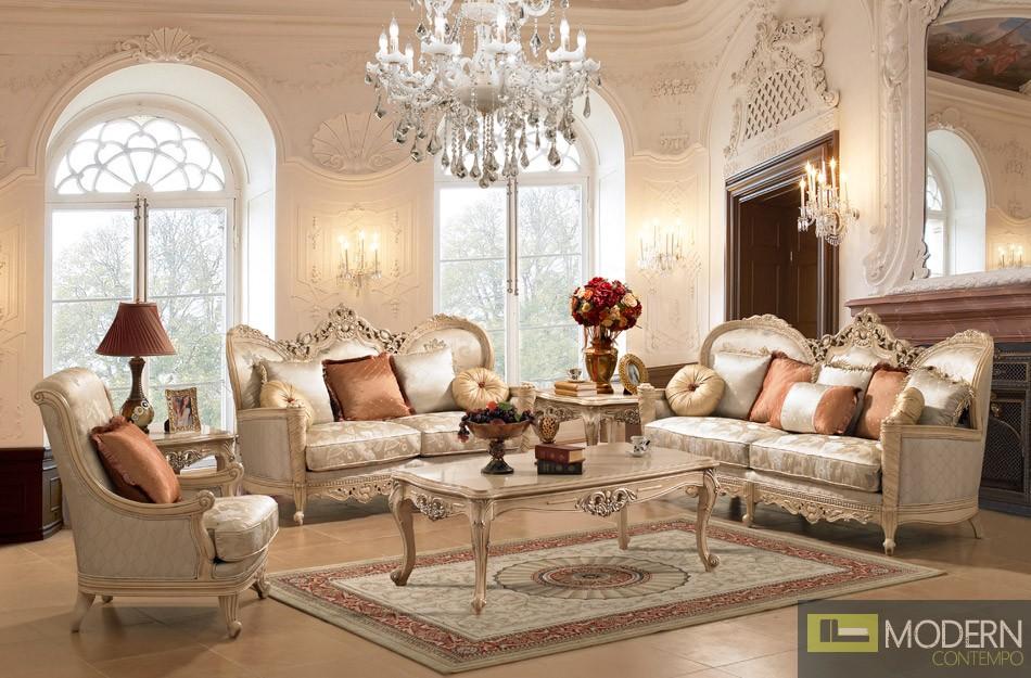 HIGHEND LUXURY Traditional Sofa Set Formal Living Room Furniture MC ...