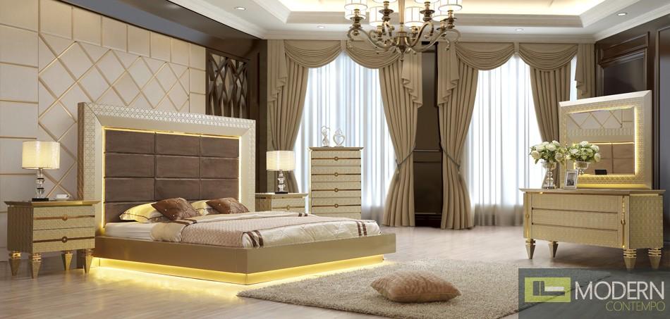 5Pc Magnolia Luxury Victorian Bedroom with LED Set HD918