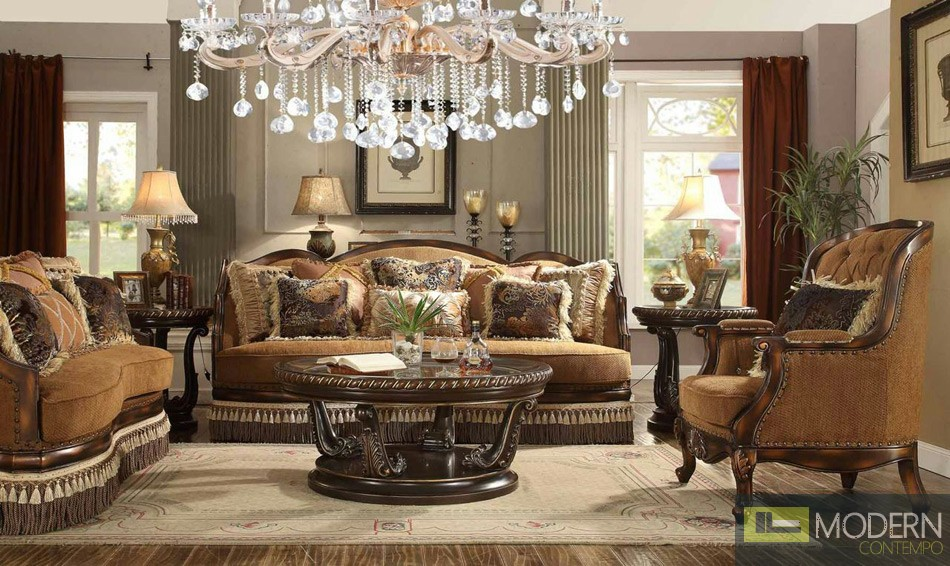 Luxury Victorian 3 Piece Traditional Living Room Sectional MCHD-9344