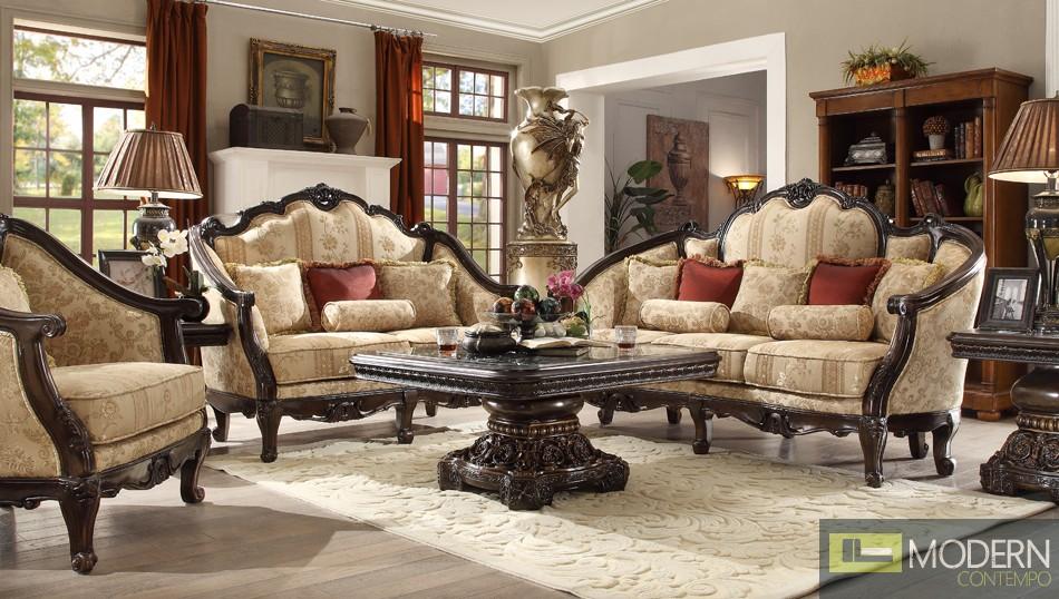Luxury Victorian Sofa, Love Seat & Chair 3 Piece Traditional Living Room Set MCHD-953