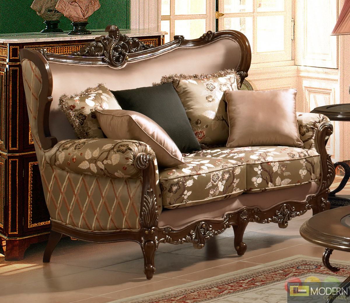 Traditional European Design Formal Living Room Sofa Set W Carved Wood Accents