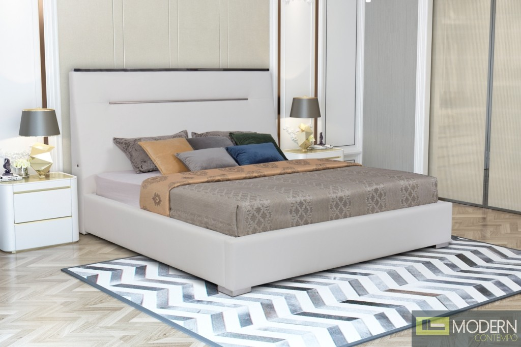 Hyde white leatherette platform bed with USB Port.