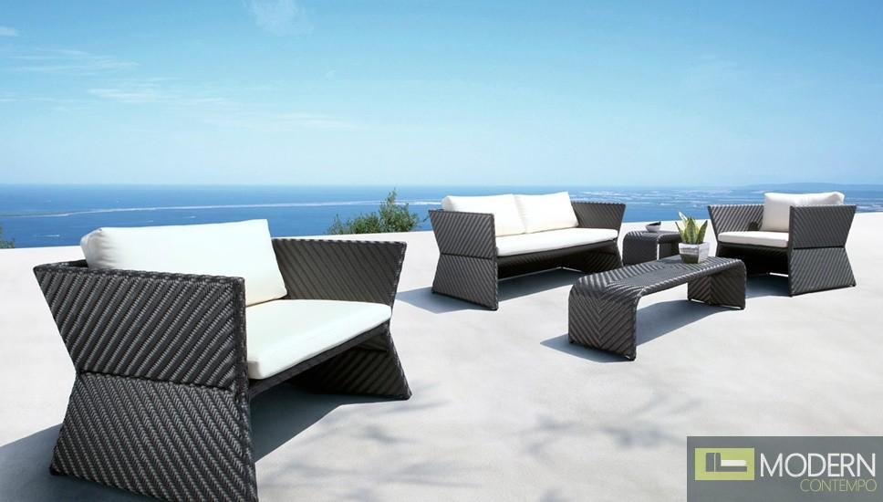 Tahiti - Black Modern Patio Sofa Set
