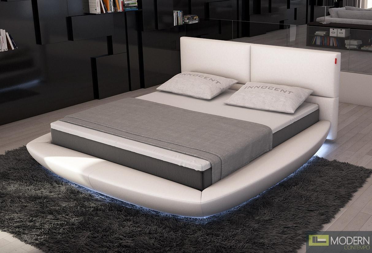 Modrest Sferico - Modern Eco-Leather Platform Bed with LED Lights