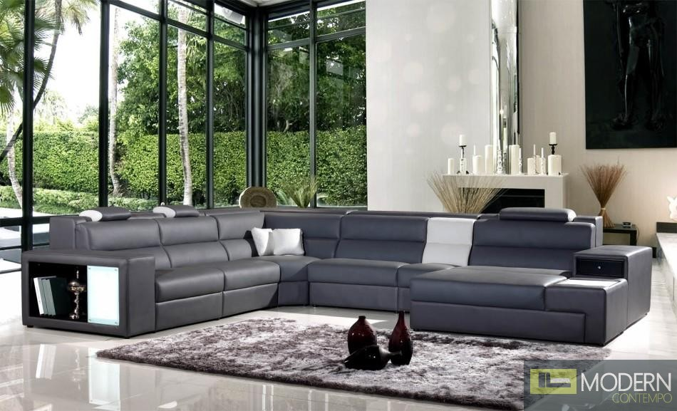 ROMANO - Contemporary Grey Leather Sectional Sofa with Lights