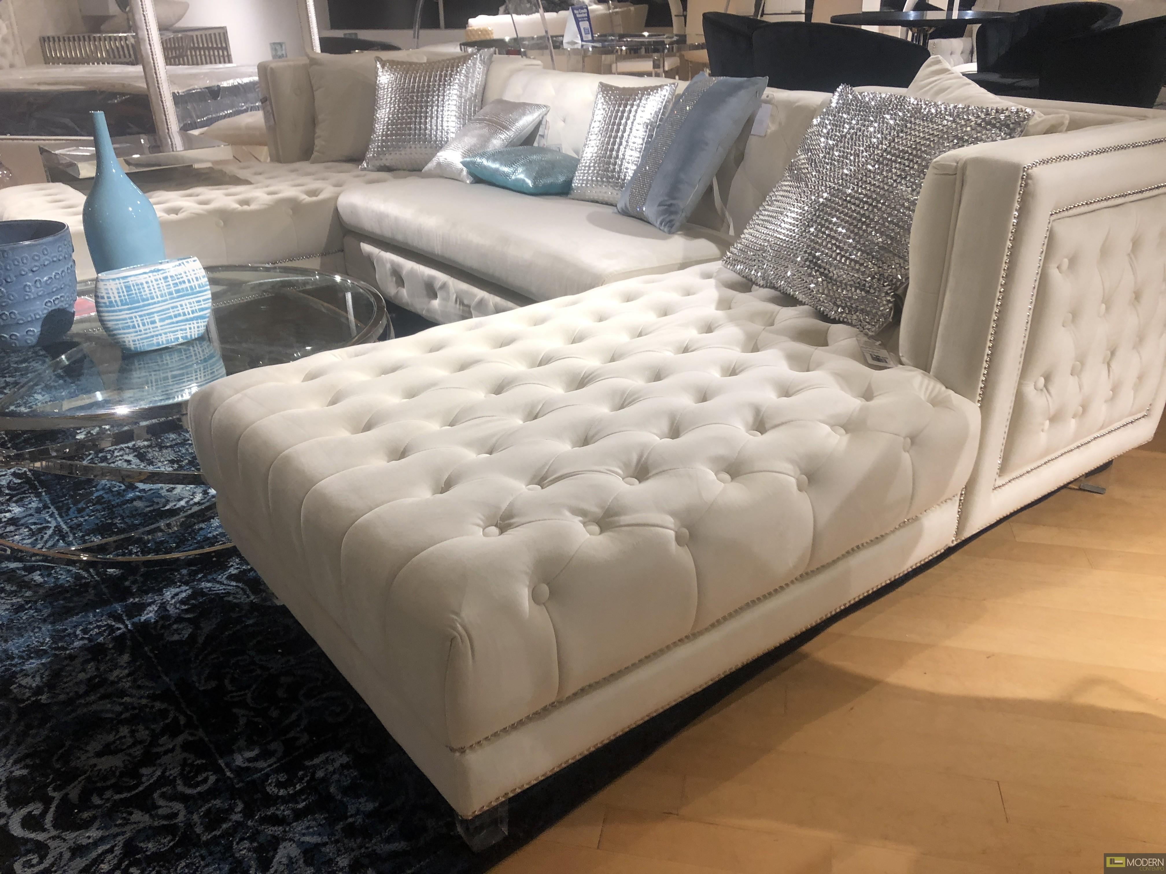 3Pc Bellissimo Ivory velvet Sectional sofa