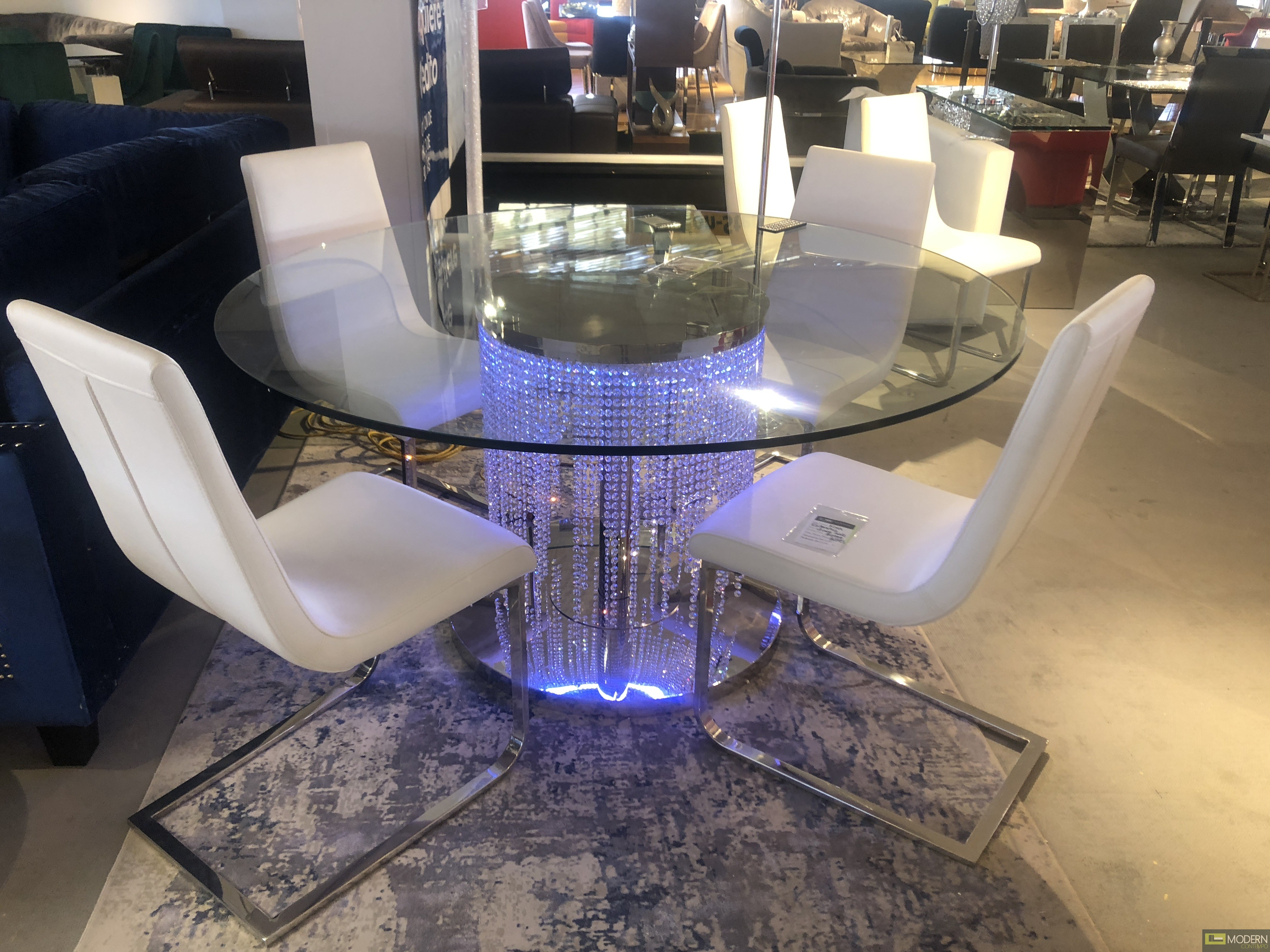 Modern Contempo Venezia Led Round Dining Table With Crystals