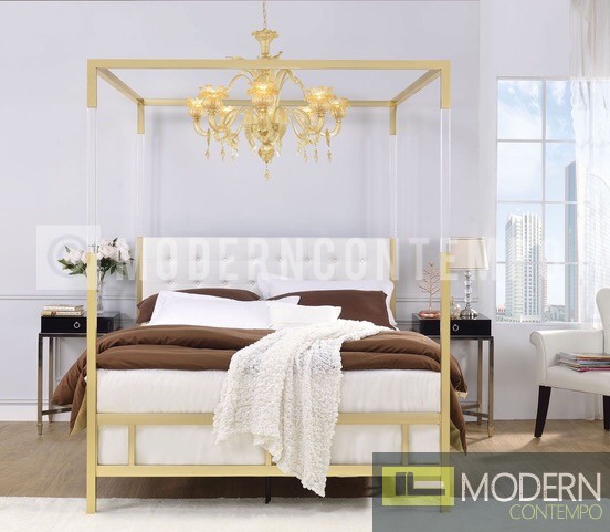 Regalia White Gold Queen Upholstered Canopy Metal Acrylic Bed