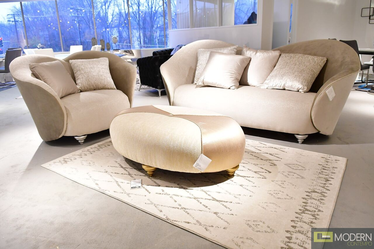 3Pc Contemporary luxury Bright gold Camelia Sofa Chair & Ottoman by Michael Amini