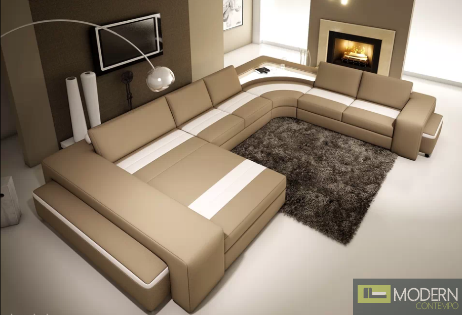 Modern Leather Sectional Sofa  with light -MCNB508-Beige