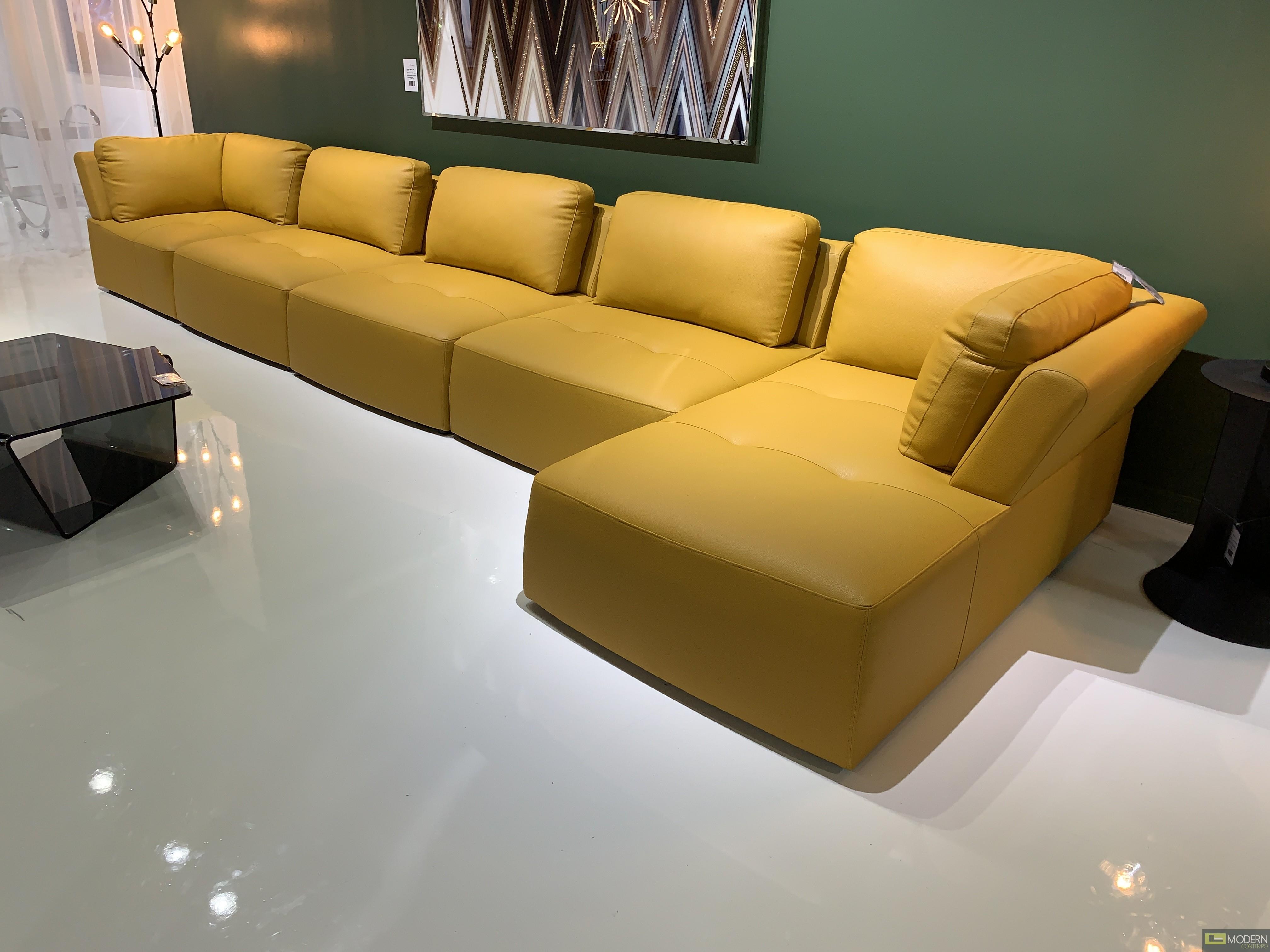 Zola 6Pc Yellow Leather Modular Sectional