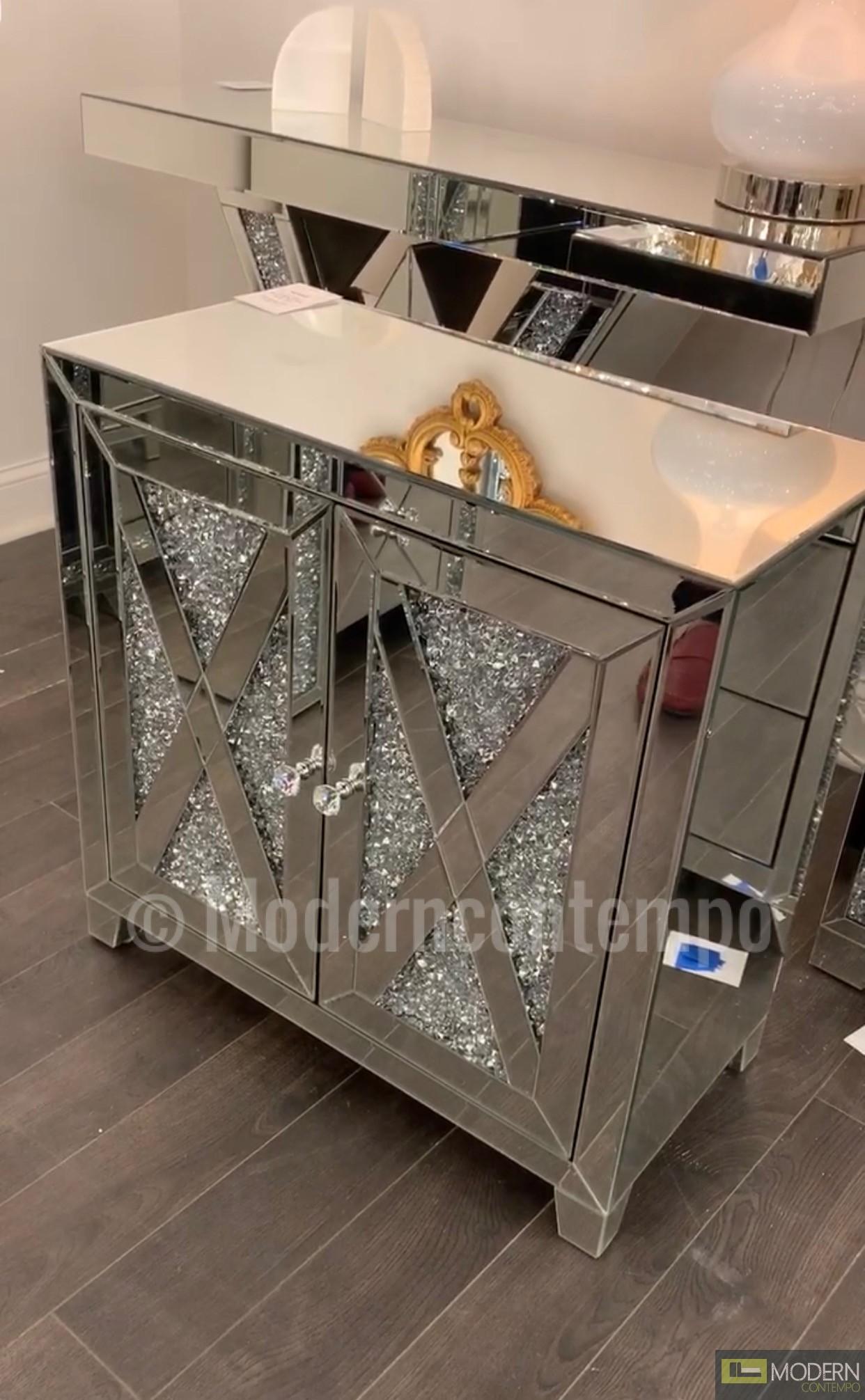 """Anzia 28"""" Crystal Mirrored 2 Door Cabinet"""