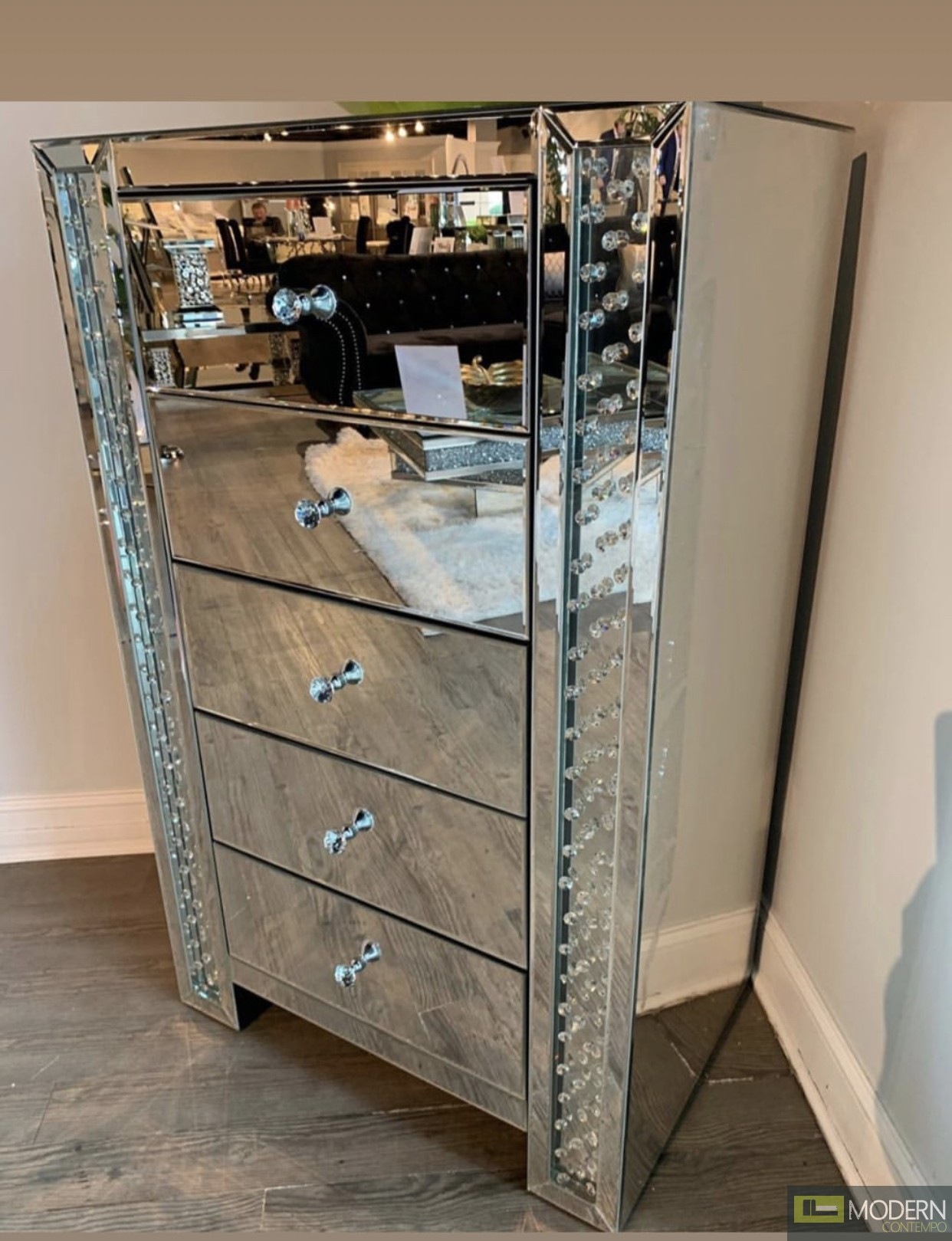 Celia 34 in. clear crystal mirrored five drawer cabinet