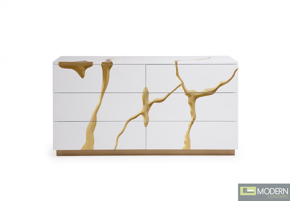 Oslo Modern White & Gold Dresser