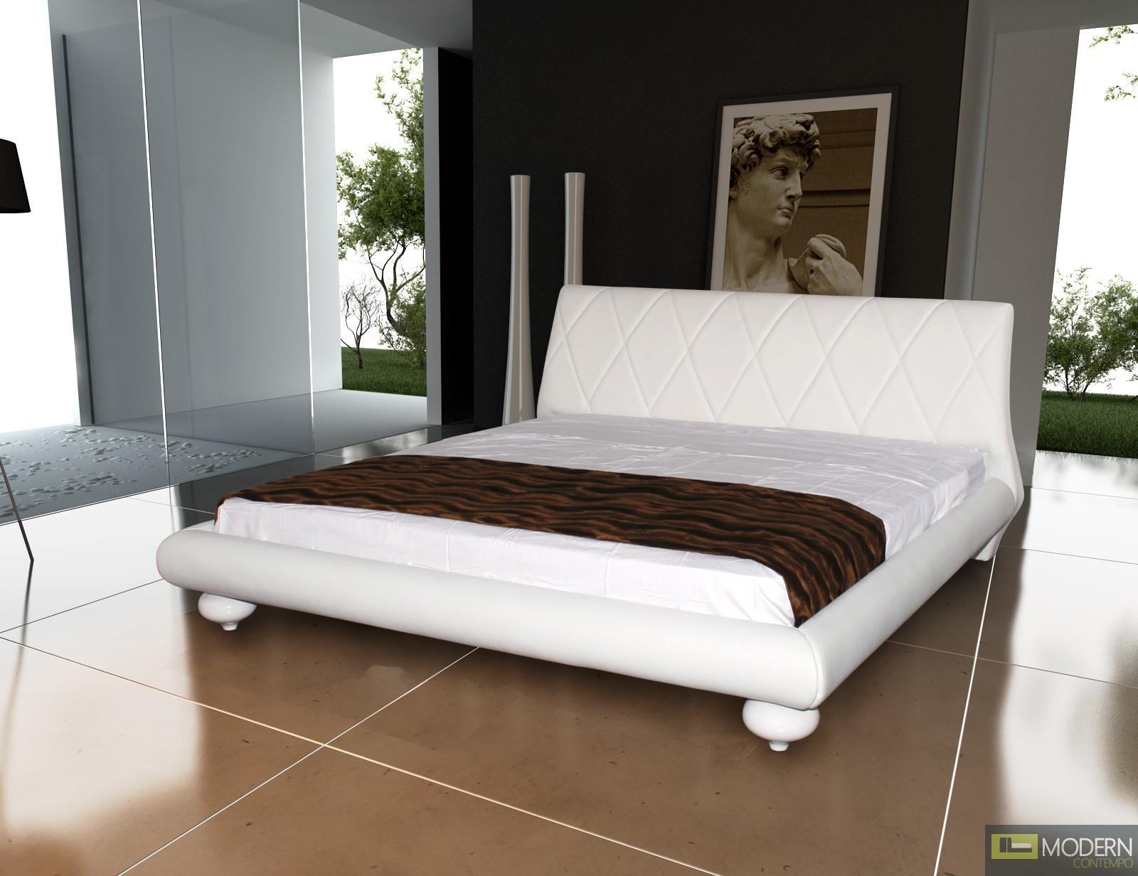Joy - Modern White Leather Platform Bed