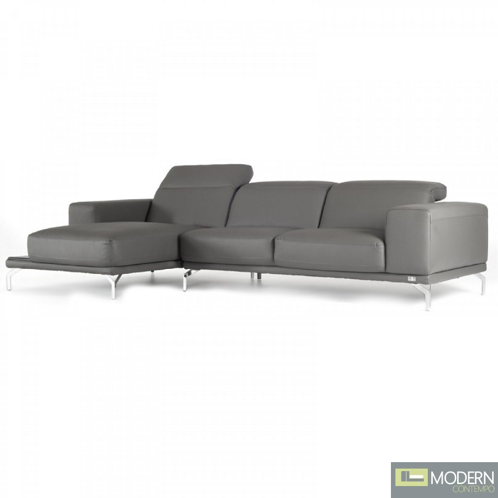 Belize Modern Grey Leather Sectional Sofa