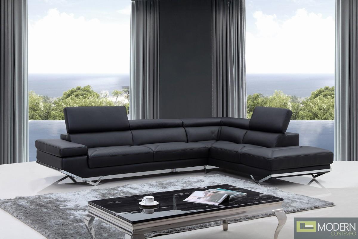 Divani Casa Quebec Modern Black Leather Sectional Sofa