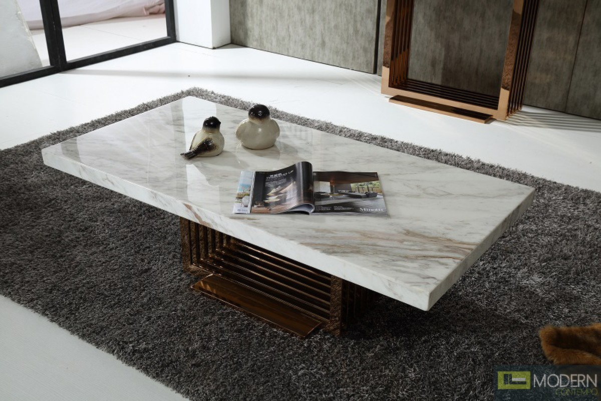 Modern Da Vittorio Marble & Rosegold Coffee Table