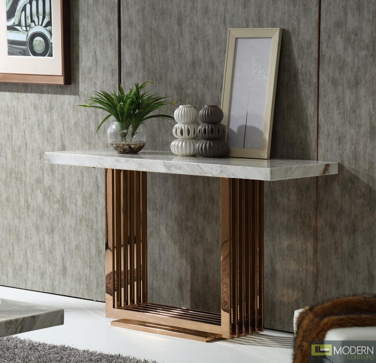 Modern Da Vittorio Marble & Rosegold Console Table
