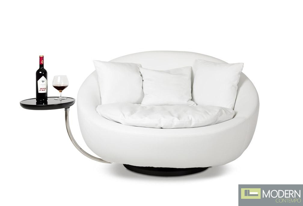 Divani Casa Alba Modern Leather Swivel Round Lounge Chair