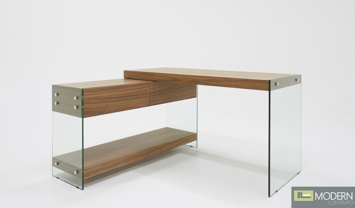 See Clearly Modern Walnut & Glass Desk