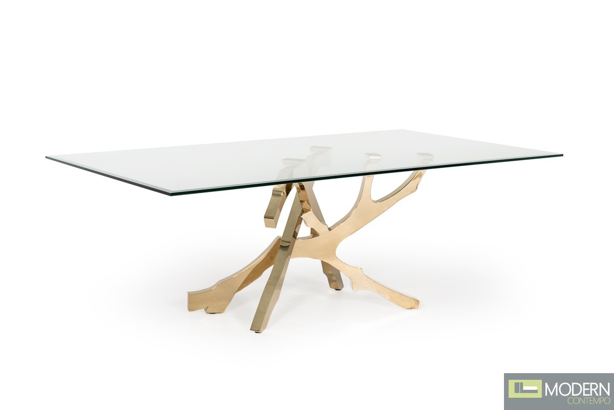 Alessio Modern Glass & Gold Dining Table