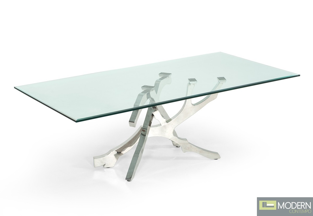 Alessio Modern Glass & Stainless Steel Dining Table