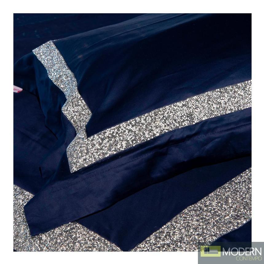 Auriel Blue Duvet Cover Set with crystals KING