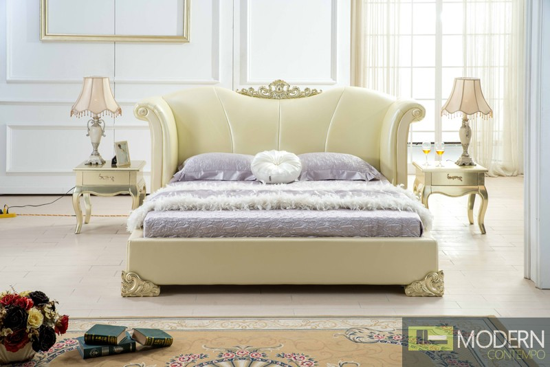Neoclassic Gold Italian Leather King Size Bed