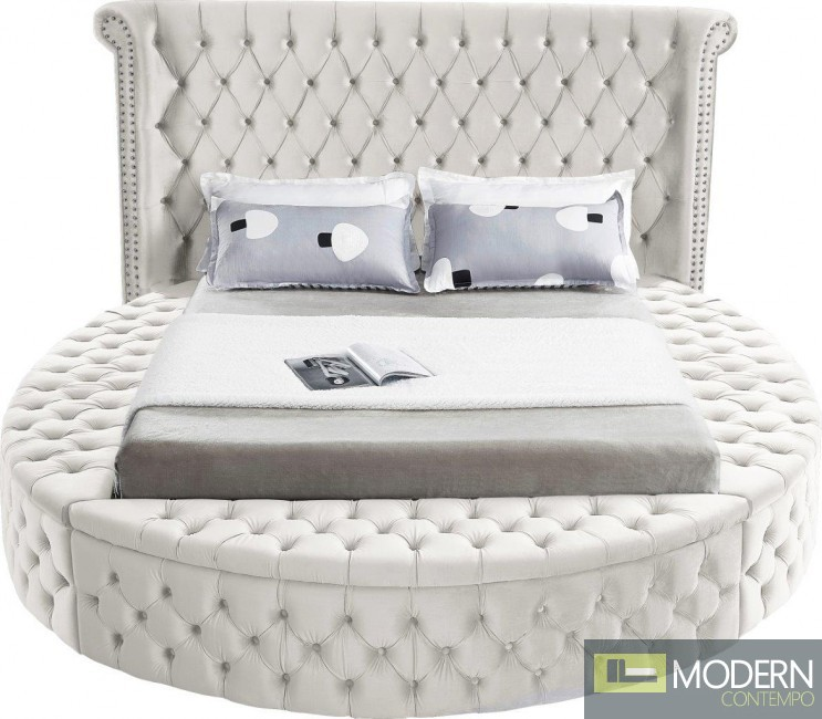 Baroness Round Storage CREAM Velvet Tufted Bed