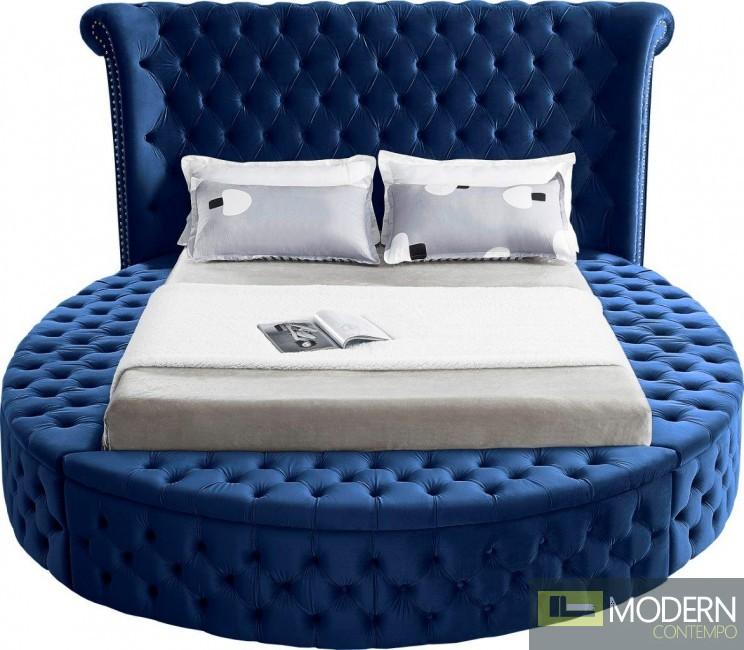 Baroness Round Storage NAVY Velvet Tufted Bed