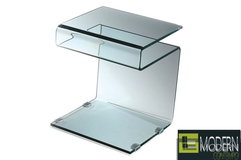 Greece Side Stand Table in Clear Glass