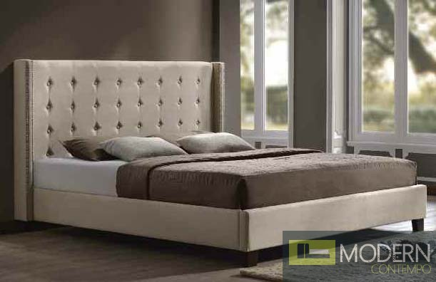 Contemporary Upholstered Bed in Beige Microfiber